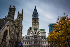 City Hall and the Masonic Temple, in Philadelphia, Pennsylvania. Stock Images