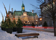 City Hall at Montreal at dusk in winter Stock Photography