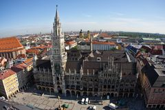 City hall in Munich. Building of Rathaus (city hall) from tower in Munich, Germany Royalty Free Stock Photography