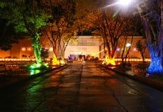 City Hall of Naga at night time during the Christmas season. NAGA CITY, CAMARINES SUR / PHILIPPINES - DECEMBER 29, 2018: City Hall of Naga at night time during royalty free stock images
