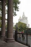 City hall new york seen from st paul's chapel Royalty Free Stock Images