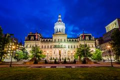 City Hall at night, in downtown Baltimore, Maryland.  stock images