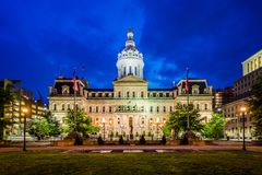 City Hall at night, in downtown Baltimore, Maryland.  royalty free stock image