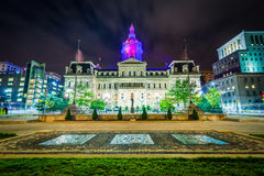 City Hall at night, in downtown Baltimore, Maryland. Royalty Free Stock Photo