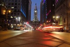 City Hall at Night in Philadelphia stock photography