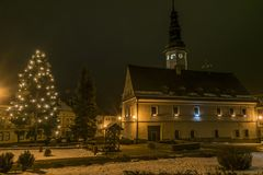 City hall in Stare Mesto in Jeseniky mountains. City hall in night in Stare Mesto in Jeseniky mountains Royalty Free Stock Photo