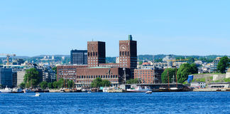 City hall oslo. Panorama on Oslo City Hall in central Oslo Norway Royalty Free Stock Photography