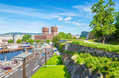 City Hall in Oslo from Akershus Castle, Norway Stock Images