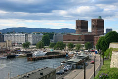 City Hall in Oslo, capital of Norway. City Hall in the center of Oslo, capital of Norway, on the bank of Oslofjord. View from Ackerhus fortess Stock Photography