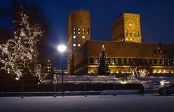 City Hall in Oslo on Christmas stock photography