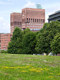 The City Hall of Oslo, Norway. And a field with wildflowers and trees in the foreground royalty free stock image