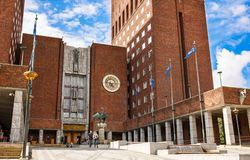 City Hall in Oslo. Oslo, Norway-August 13, 2014 - Unknown people walking at the City Hall stock images