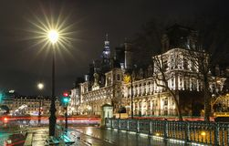 The City hall of Paris at rainy night - France, France.