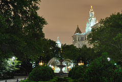 City Hall Park. In New York City at night Royalty Free Stock Photos