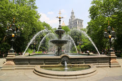 City Hall Park Fountain in Manhattan Royalty Free Stock Image