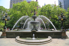 City Hall Park Fountain in Manhattan Stock Photos