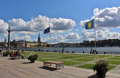 City Hall Park at Stockholm City Hall. Stockholm City Hall is located on the shore of Lake Mälaren. Between City Hall and the water is a small park, City Hall Stock Photos