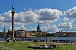 City Hall Park at Stockholm City Hall. Stockholm City Hall is located on the shore of Lake Mälaren. Between City Hall and the water is a small park, City Hall Stock Photo