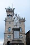 City Hall at Piazza della Liberta, Statue Liberty, San Marino Royalty Free Stock Image