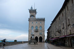 City Hall at Piazza della Liberta, Statue Liberty, San Marino Stock Photography
