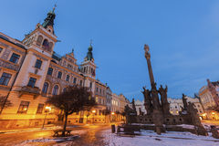City Hall and Plague Column on Pernstynske Square in Pardubice Stock Photo