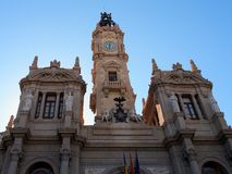 City Hall, Plaza Ayuntamiento,, Valencia. Valencia's City Hall (Town Hall), The Ayuntamiento is in the Plaza, or Square, of the same name in the centre of Royalty Free Stock Images