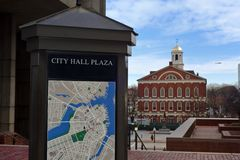 City hall plaza by faneuil hall market place Royalty Free Stock Photos