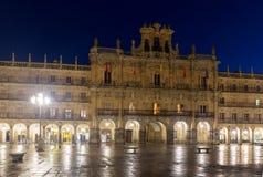 City hall at Plaza Mayor  in night Stock Photo