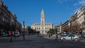 City Hall of Porto in Aliados Avenue, Portugal stock video footage