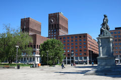 City Hall (Radhus) in center of Oslo, capital of Norway. City Hall in center of Oslo, capital of Norway. To the right is monument of norvwegian admiral Peter Stock Image