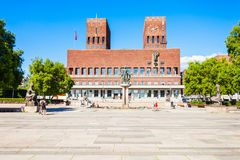 Radhus City Hall, Oslo. City Hall or Radhus in Oslo, Norway. Oslo City Hall is a municipal building, houses the Oslo city council stock photo