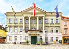 City Hall (Rathaus) on Hauptplatz in Baden bei Wien, Austria. Stock Photos