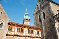 City hall (Rathaus) tower and Brunswick Cathedral Royalty Free Stock Photos