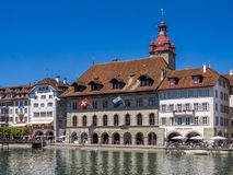 City Hall and restaurants on the river Reuss in Lucerne, Switzer. Land, Europe Royalty Free Stock Photography