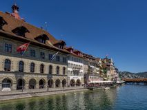 City Hall and restaurants on the river Reuss in Lucerne, Switzer. Land, Europe Stock Photos