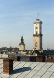 City hall. Roofs of Lviv. Tower of city hall Stock Image