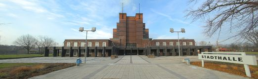City hall in Rotehornpark in Magdeburg, built in 1927, listed as monument. Stadthalle means city hall.  Stock Photography