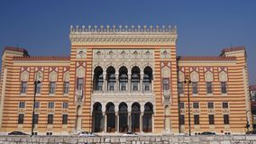 City Hall Sarajevo. Renovated city hall of Sarajevo which was first built in the Austrian-Hungarian period stock video