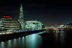 City Hall, Shard building and HMS Belfast at night Royalty Free Stock Image