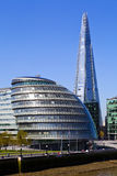 City Hall and the Shard in London. View of City Hall and the Shard in London stock photography