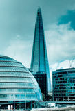 City Hall and the Shard in silver Royalty Free Stock Photo