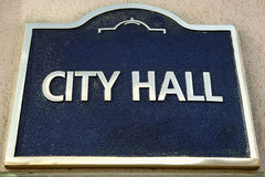 City Hall sign on local government building, close up Royalty Free Stock Image