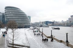 City Hall in the snow, London, UK Stock Image