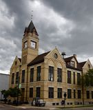 City Hall. This is a Spring picture on a stormy day of the Oconomowoc City Hall located in Oconomowoc, Wisconsin in Waukesha County. This brick building was stock photos