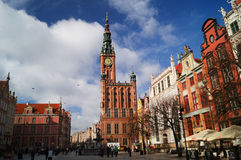 City Hall and square in Gdansk. Overview of the City Hall and Square in Gdansk at midday Royalty Free Stock Image