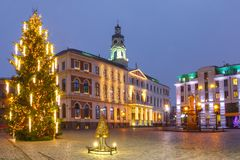 City Hall Square in the Old Town of Riga, Latvia stock images