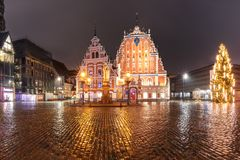 City Hall Square in the Old Town of Riga, Latvia stock photos