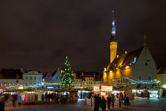 City hall square in Tallinn in Christmas Stock Photos