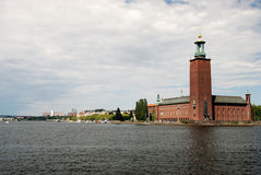The city hall. Stockholm. Stockholm. The city hall and the lighthouse Stock Photo