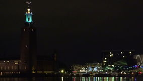 City Hall in Stockholm. Sweden. Night, lights stock footage